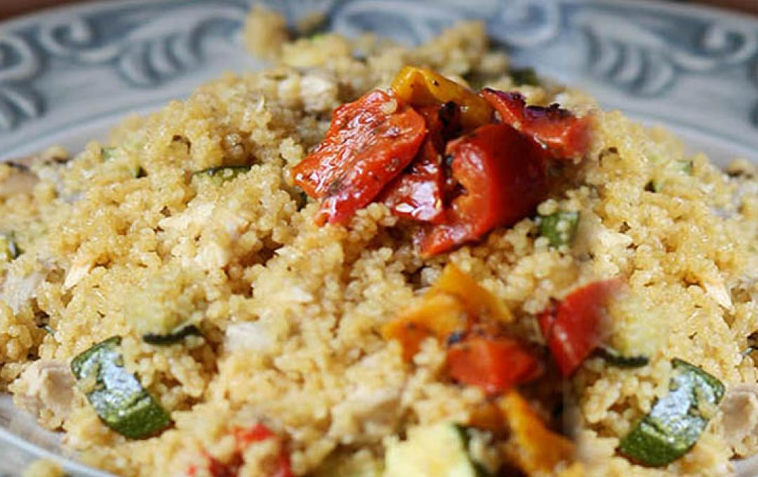 Cous cous with courgettes, mackerel and grilled vegetables - Valbona