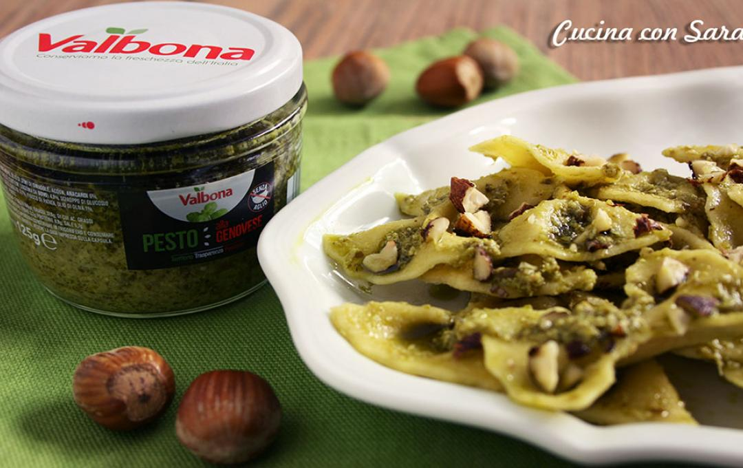 Valbona-Farfalle with Pesto alla Genovese and crunchy hazelnut topping