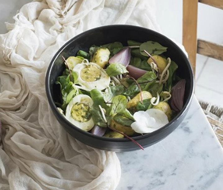 Soya bean sprout, onion and potato salad